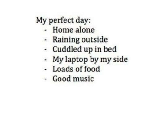 raining: My perfect day:  - Home alone  Raining outside  Cuddled up in bed  My laptop by my side  Loads of food  Good music  -  -