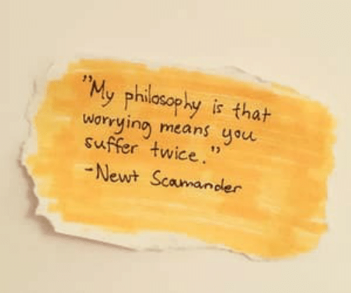 """newt: """"My philosophy is thah  worying means you  suffer twice.""""  Newt Scamander"""