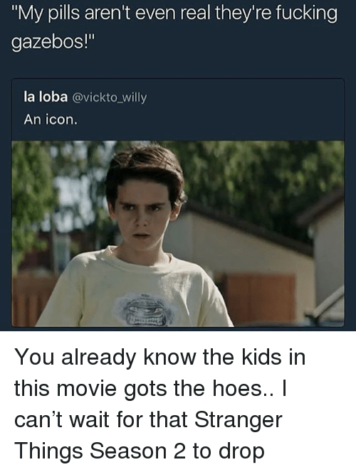 """gots: """"My pills aren't even real they're fucking  gazebos!""""  la loba @vickto_willy  An icon. You already know the kids in this movie gots the hoes.. I can't wait for that Stranger Things Season 2 to drop"""