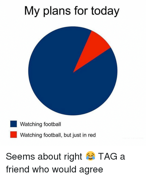 Football, Sports, and Today: My plans for today  Watching football  Watching football, but just in red Seems about right 😂 TAG a friend who would agree