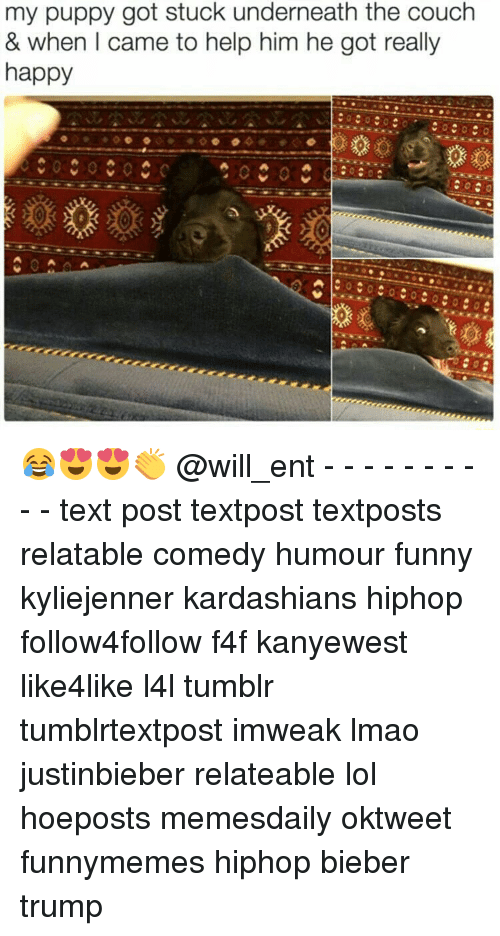 Funny, Kardashians, and Lmao: my puppy got stuck underneath the couch  & when I came to help him he got really  happy 😂😍😍👏 @will_ent - - - - - - - - - - text post textpost textposts relatable comedy humour funny kyliejenner kardashians hiphop follow4follow f4f kanyewest like4like l4l tumblr tumblrtextpost imweak lmao justinbieber relateable lol hoeposts memesdaily oktweet funnymemes hiphop bieber trump
