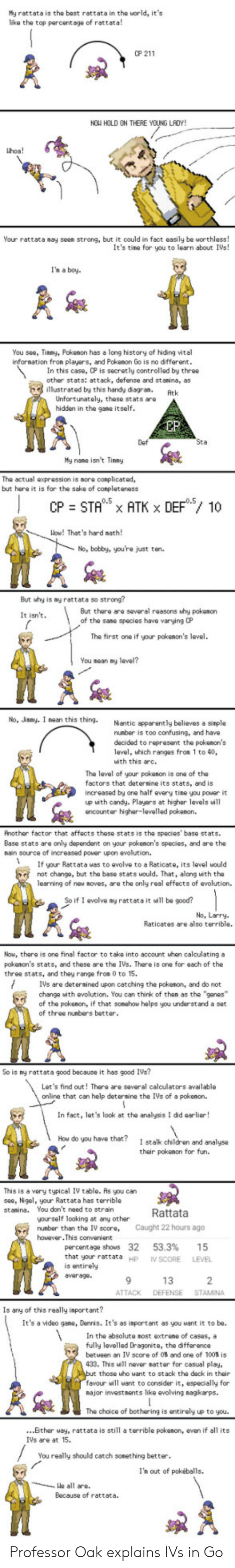 rattata: My rattata is the best rattata in the world, its  like the top parcentage of rattata!  0P 211  NOW HOLD ON THERE YOUNG LAOY!  hoa!  Your rattata may seen strong, but it could in fact easily be worthless!  It's tine for you to learn about IVs!  I'h a boy  You see, Tinmy, Pokenon has a long history of hiding vital  infornation fron players, and Pokenon Go is no different  In this case, CP is secretly controlled by three  other stats: attack, defense and stanina, as  illustrated by this handy diegran.Atk  Unfortunately, these stats aro  hidden in the gane  itself  EP  Def  My nane isnt Tiny  The actual expression is nore conplicated,  but hare it is for the sake of conpleteness  Wow! That's hard nath  No, bobby, you're just ton.  But why is ny rattata so strong?  But there are several reasons why pokenon  of the sane species have varying CP  It isn't  The first one if your pokenon's level.  You nean y  No, Jnmy. I nean this thing. Niantic apparently believes a  nunber is too confusing, and have  decided to reprosent the pokenon's  level, hich ranges from 1 to 40,  uith this arc.  The leval of your pokanon is one of the  factors that deternine its stats, and is  increased by one half every tine you power it  up with candy. Playars at higher levels will  ancounter higher-levelled pokenon.  Another factor that affects these stats is the species' base stats  Base stats are only dependent on your pokenon's species, and are the  nain source of increased power upon evolution.  Ifyu Rattata uas to avolve to a Raticate, its level would  not change, but the base stats would. That, along with the  learning of new noves, are the only real effects of evolution.  So if 1 evolve ny rattata it will be good?  No, Larry  Raticates are also terrible.  Now, there is one final factor to take into account uhen calculating a  pokenon's stats, and these are the IVs. There is one for each of the  three stats, and they range fron 0 to 15.  IVs are detersined upon catching the pokenon, 