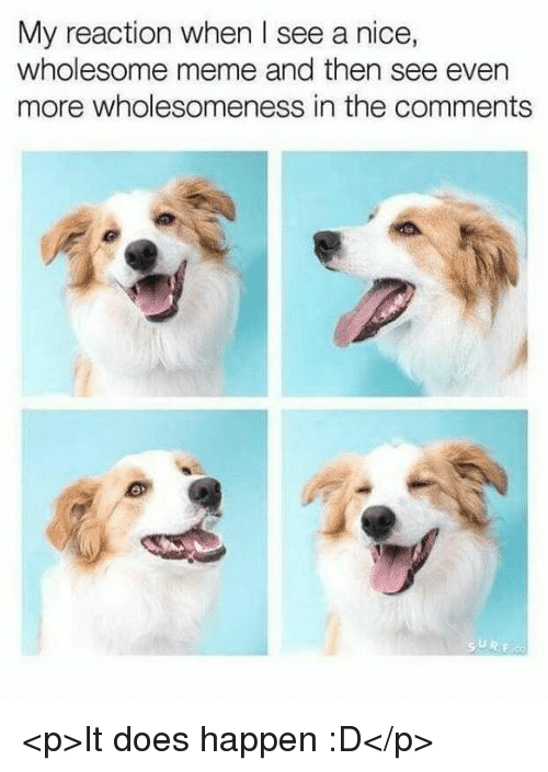 Meme, Wholesome, and Nice: My reaction when I see a nice,  wholesome meme and then see even  more wholesomeness in the comments <p>It does happen :D</p>