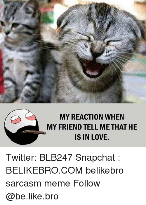 Broing: MY REACTION WHEN  MY FRIEND TELL ME THAT HE  IS IN LOVE. Twitter: BLB247 Snapchat : BELIKEBRO.COM belikebro sarcasm meme Follow @be.like.bro