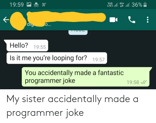 accidentally: My sister accidentally made a programmer joke