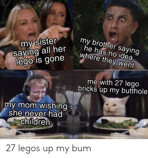Legos: my sister  saying all her  lego is gone  my brother saying  he has no idea  where they went  bearboob  me with 27 lego  bricks up my butthole  my mom wishing  she never had  children 27 legos up my bum
