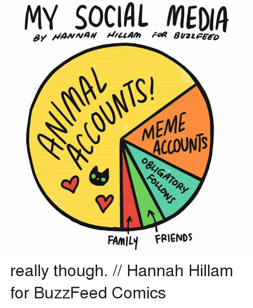 Buzzfees: MY SOCIAL FOR MEDIA  ACCOUNTS  FAMILY FRIENDS really though. // Hannah Hillam for BuzzFeed Comics