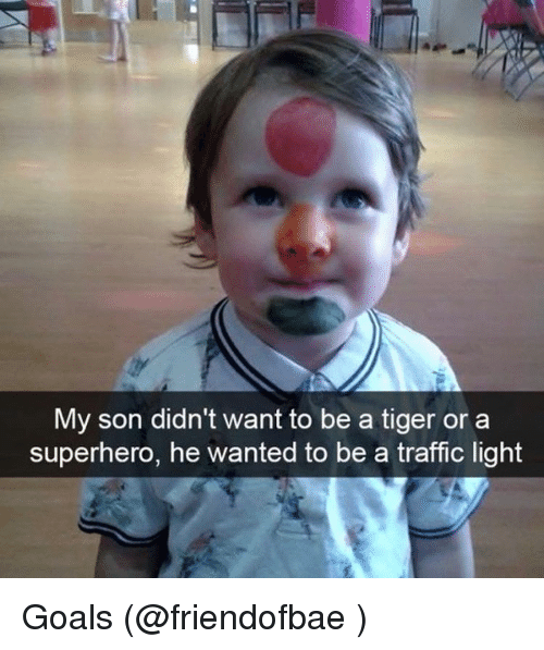 Funny, Meme, and Traffic: My son didn't want to be a tiger or a  superhero, he wanted to be a traffic light Goals (@friendofbae )