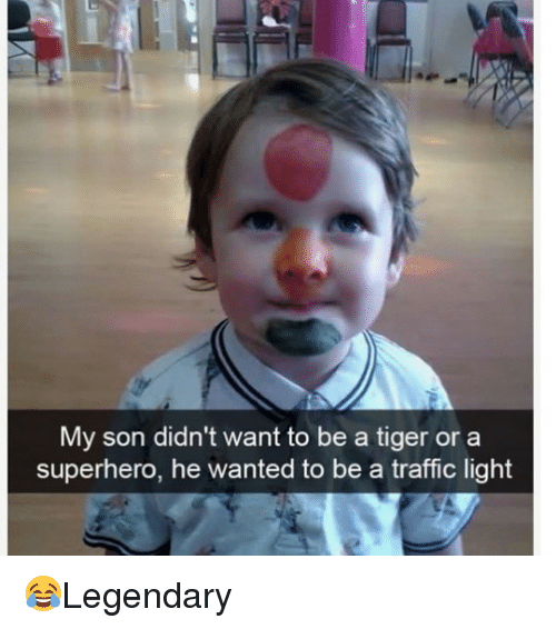 Memes, Superhero, and Traffic: My son didn't want to be a tiger or a  superhero, he wanted to be a traffic light 😂Legendary