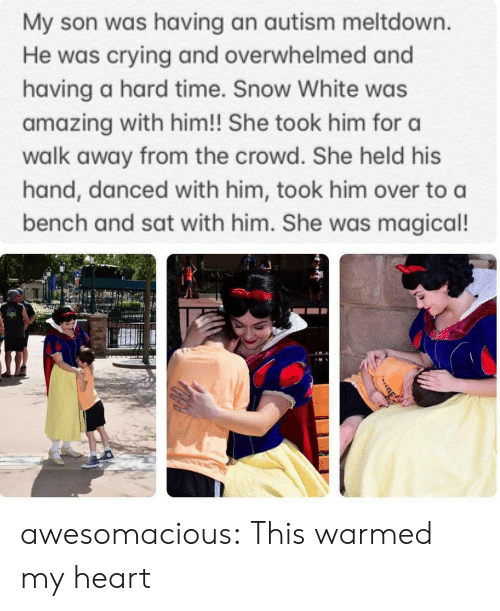 Autism: My son was having an autism meltdown.  He was crying and overwhelmed and  having a hard time. Snow White was  amazing with him!! She took him for a  walk away from the crowd. She held his  hand, danced with him, took him over to a  bench and sat with him. She was magical! awesomacious:  This warmed my heart