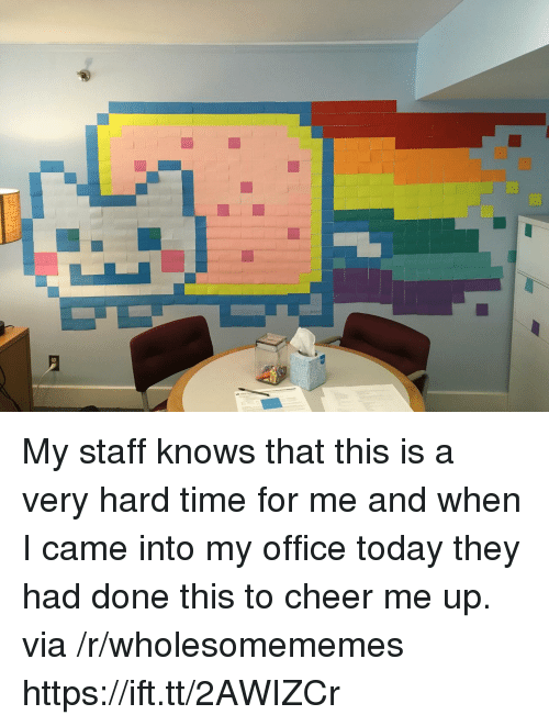 Office, Time, and Today: My staff knows that this is a very hard time for me and when I came into my office today they had done this to cheer me up. via /r/wholesomememes https://ift.tt/2AWIZCr