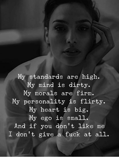 ils: My standards are/ high.  My mind is dirty.  My morals are firm.  My personality is flirty.  My heart ils big.  My ego is small  And if you don't like me  I don't give a fuck at all.