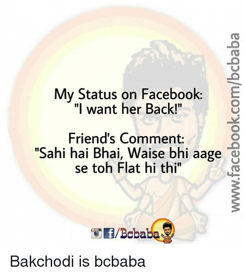 "Facebook, Friends, and Memes: My Status on Facebook:  ""I want her Back!""  Friend's Comment:  ""Sahi hai Bhai, Waise bhi aage  1I  se toh Flat hi thi"" o  /Boba Bakchodi is bcbaba"