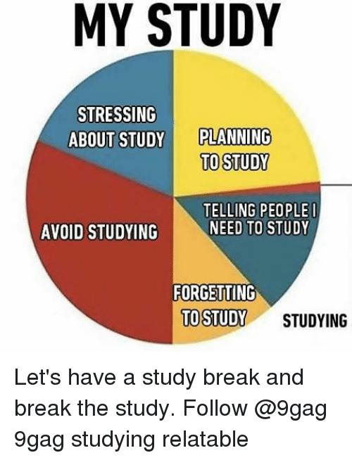 Memes, 🤖, and Breaking: MY STUDY  STRESSING  ABOUT STUDY PLANNING  TO STUDY  TELLING PEOPLE I  NEED TO STUDY  AVOID STUDYING  FORGETTING  TO STUDY  STUDYING Let's have a study break and break the study. Follow @9gag 9gag studying relatable