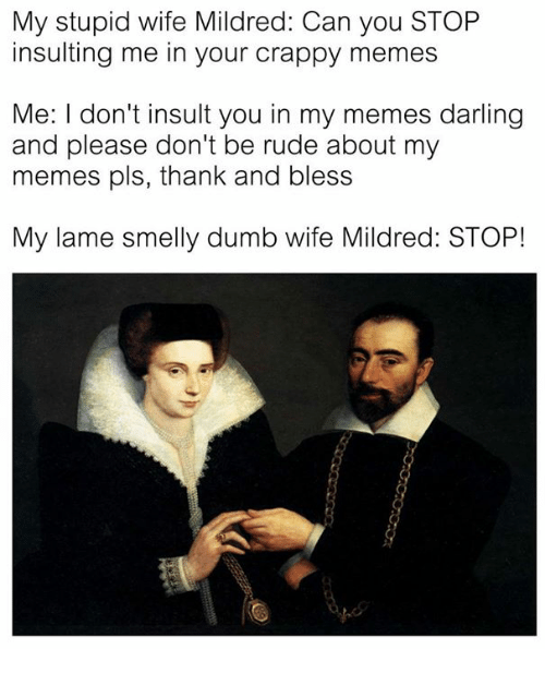 Insulter: My stupid wife Mildred: Can you STOP  insulting me in your crappy memes  Me: I don't insult you in my memes darling  and please don't be rude about my  memes pls, thank and bless  My lame smelly dumb wife Mildred: STOP!