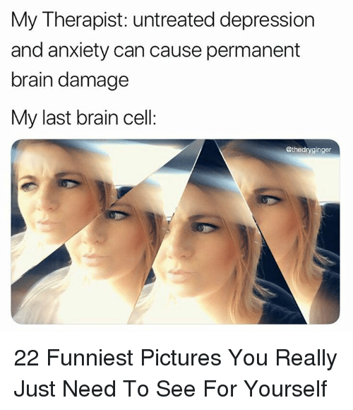 Depression And Anxiety: My Therapist: untreated depression  and anxiety can cause permanent  brain damage  My last brain cell:  @thedryginger 22 Funniest Pictures You Really Just Need To See For Yourself