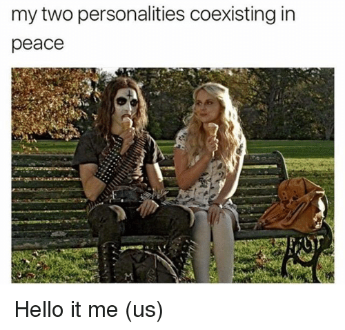 Hello, Memes, and Peace: my two personalities coexisting in  peace Hello it me (us)