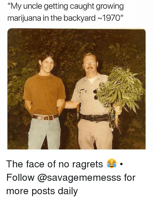 """Memes, Marijuana, and 🤖: """"My uncle getting caught growing  marijuana in the backyard ~1970"""" The face of no ragrets 😂 • Follow @savagememesss for more posts daily"""