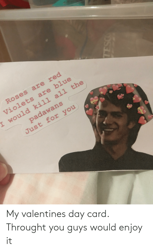 valentines day card: My valentines day card. Throught you guys would enjoy it