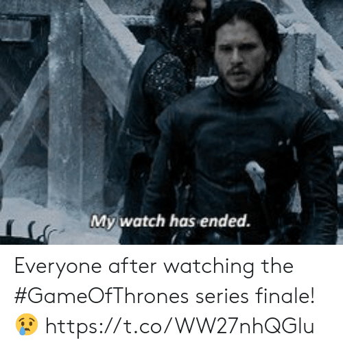 finale: My,watch has ended. Everyone after watching the #GameOfThrones series finale! 😢 https://t.co/WW27nhQGlu