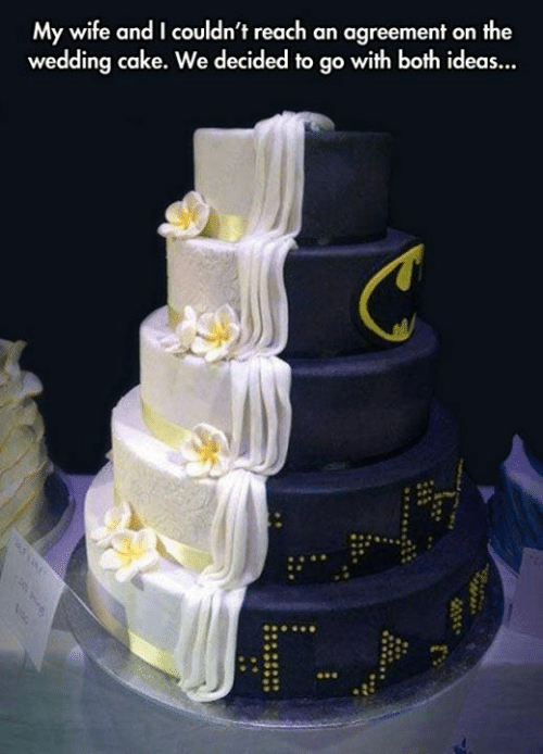 Wedding Cake: My wife and I couldn't reach an agreement on the  wedding cake. We decided to go with both ideas...