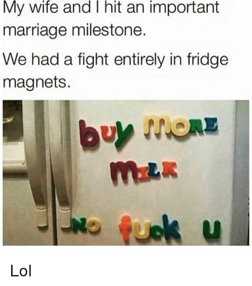 Funny, Lol, and Marriage: My wife and I hit an important  marriage milestone.  We had a fight entirely in fridge  magnets. Lol