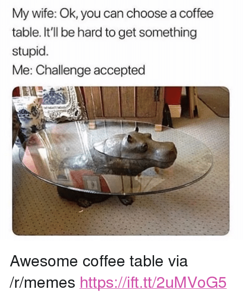 """stupid me: My wife: Ok, you can choose a coffee  table. It'll be hard to get something  stupid.  Me: Challenge accepted <p>Awesome coffee table via /r/memes <a href=""""https://ift.tt/2uMVoG5"""">https://ift.tt/2uMVoG5</a></p>"""