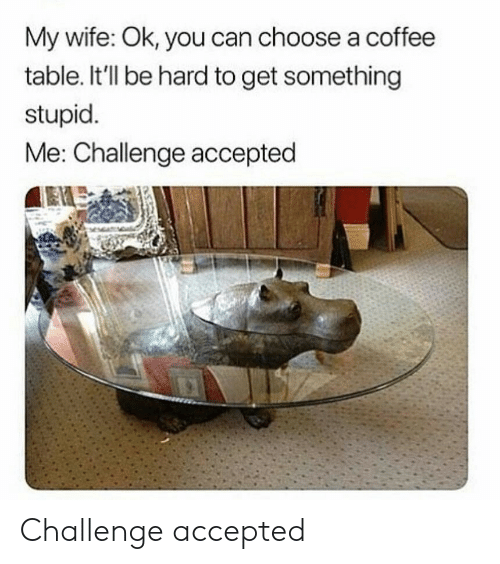 stupid me: My wife: Ok, you can choose a coffee  table. It'll be hard to get something  stupid  Me: Challenge accepted Challenge accepted