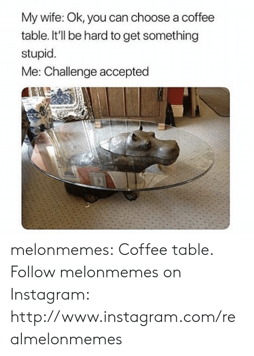 stupid me: My wife: Ok, you can choose a coffee  table. It'll be hard to get something  stupid.  Me: Challenge accepted melonmemes:  Coffee table. Follow melonmemes on Instagram: http://www.instagram.com/realmelonmemes