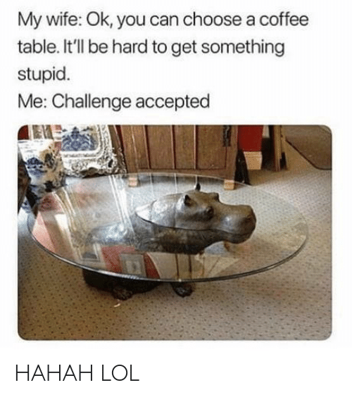 stupid me: My wife: Ok, you can choose a coffee  table. It'll be hard to get something  stupid  Me: Challenge accepted HAHAH LOL