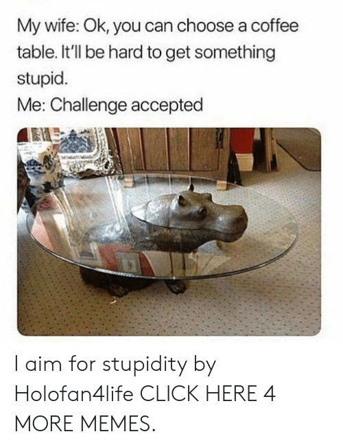 stupid me: My wife: Ok, you can choose a coffee  table. It'll be hard to get something  stupid.  Me: Challenge accepted I aim for stupidity by Holofan4life CLICK HERE 4 MORE MEMES.