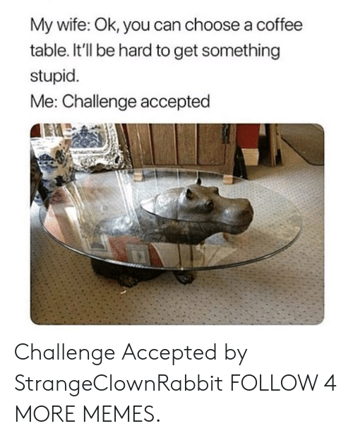 stupid me: My wife: Ok, you can choose a coffee  table. It'll be hard to get something  stupid  Me: Challenge accepted Challenge Accepted by StrangeClownRabbit FOLLOW 4 MORE MEMES.