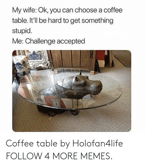 stupid me: My wife: Ok, you can choose a coffee  table. It'll be hard to get something  stupid.  Me: Challenge accepted Coffee table by Holofan4life FOLLOW 4 MORE MEMES.