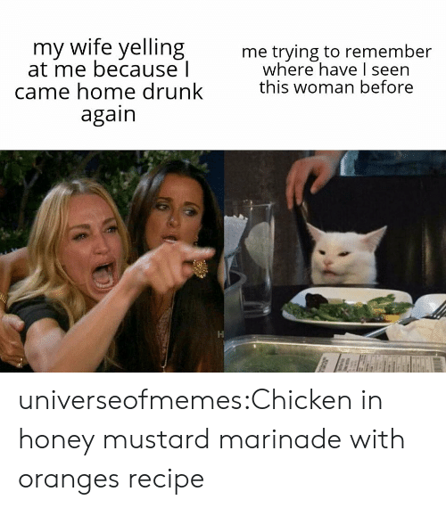 oranges: my wife yelling  at me because l  came home drunk  again  me trying to remember  where have I seen  this woman before universeofmemes:Chicken in honey mustard marinade with orangesrecipe
