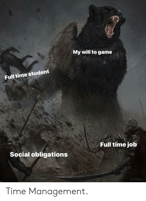Obligations: My will to game  Full time student  Full time job  Social obligations Time Management.