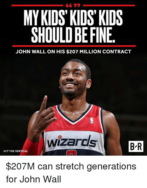 John Wall, Kids, and Wizards: MYKIDS KIDS KIDS  SHOULD BE FINE  JOHN WALL ON HIS $207 MILLION CONTRACT  wizards  B-R  H/T THE VERTICAL $207M can stretch generations for John Wall