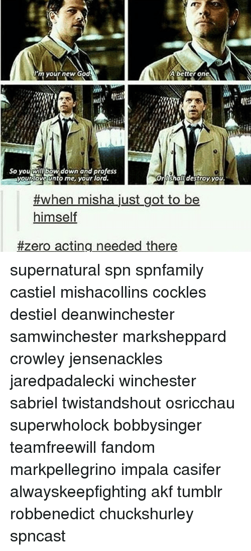 God, Love, and Memes: 'myour new God  A better one  So you wil bow down and profess  So you will bow down and profess  your love unto me your lord.  oroshall destroy you  #when misha just got to be  himself  #zero acting needed there supernatural spn spnfamily castiel mishacollins cockles destiel deanwinchester samwinchester marksheppard crowley jensenackles jaredpadalecki winchester sabriel twistandshout osricchau superwholock bobbysinger teamfreewill fandom markpellegrino impala casifer alwayskeepfighting akf tumblr robbenedict chuckshurley spncast