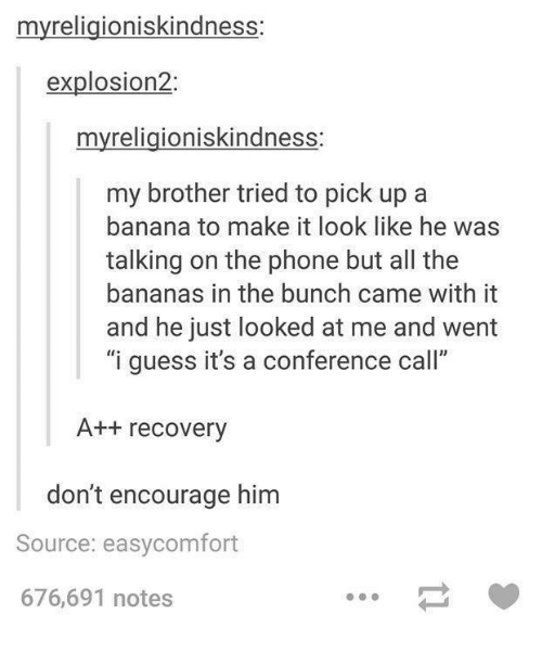 "Guess: myreligioniskindness:  explosion2  myreligioniskindness:  my brother tried to pick up a  banana to make it look like he was  talking on the phone but all the  bananas in the bunch came with it  and he just looked at me and went  ""i guess it's a conference call""  A++ recovery  don't encourage him  Source: easycomfort  676,691 notes"