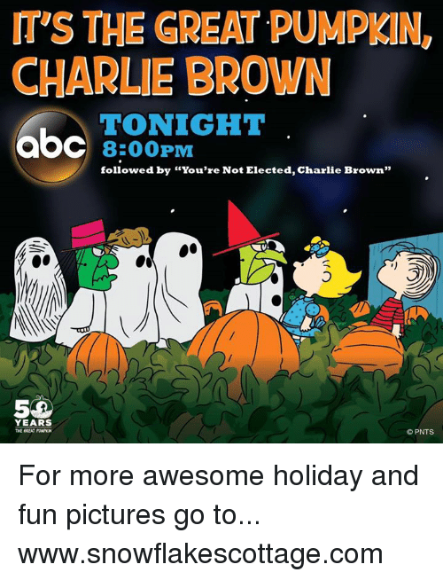 """the great pumpkin charlie brown: mys THE GREAT PUMPKIN,  CHARLIE BROWN  TONIGHT  aOC 8:00 PM  followed by """"You're Not Elected, Charlie Brown""""  YEARS  THE GREAT PUNPKN  PNTS For more awesome holiday and fun pictures go to... www.snowflakescottage.com"""