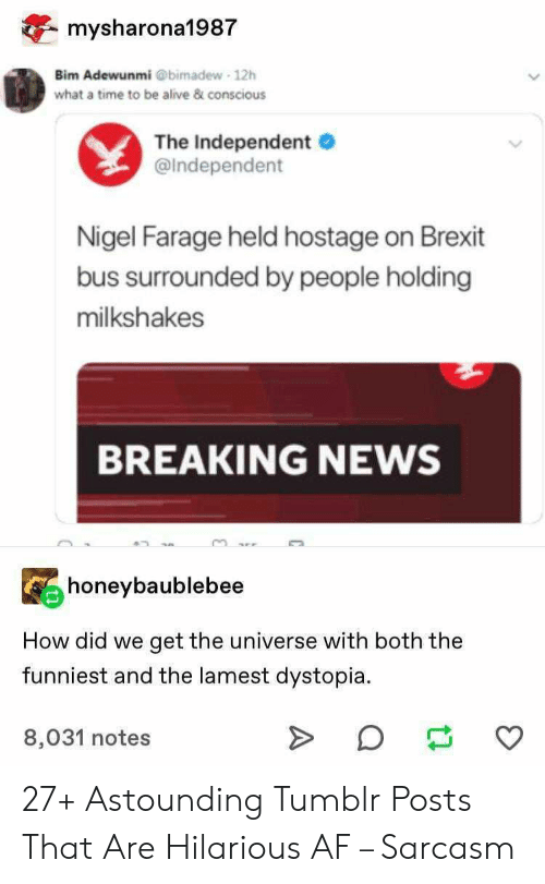 conscious: mysharona1987  Bim Adewunmi @bimadew 12h  what a time to be alive & conscious  The Independent  @Independent  Nigel Farage held hostage on Brexit  bus surrounded by people holding  milkshakes  BREAKING NEWS  honeybaublebee  How did we  get the universe with both the  funniest and the lamest dystopia  8,031 notes 27+ Astounding Tumblr Posts That Are Hilarious AF – Sarcasm