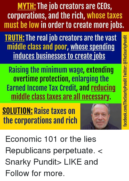 pundit: MYTH: The job creators are CEOs,  corporations, and the rich  whose taxes  must be low in order to create more jobs.  TRUTH: The real job creators are the vast  middle class and poor  whose spending  induces businesses to create iobs  Raising the minimum wage, extending  overtime protection, enlarging the F  Earned Income Tax Credit, and reducing  middle class taxes are all necessary.  SOLUTION: Raise taxes on  the corporations and rich Economic 101 or the lies Republicans perpetuate.  < Snarky Pundit> LIKE and Follow for more.