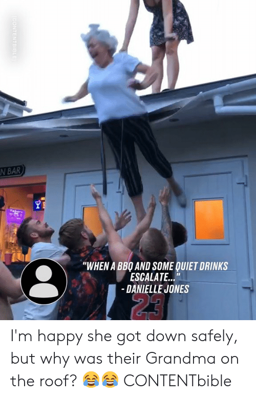 "danielle: N BAR  ""WHEN A BBO AND SOME QUIET DRINKS  ESCALATE...""  -DANIELLE JONES  23  CONTENTBIBLE I'm happy she got down safely, but why was their Grandma on the roof? 😂😂  CONTENTbible"