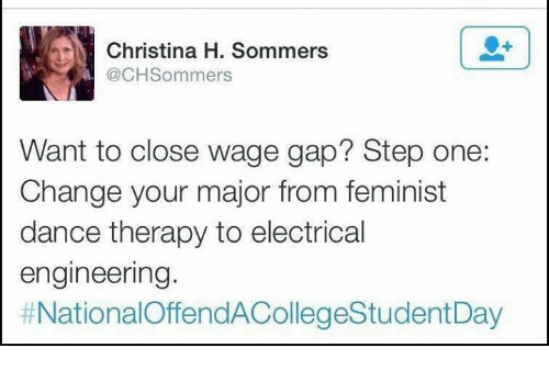 electrical engineer: N Christina H. Sommers  @CH Sommers  Want to close wage gap? Step one:  Change your major from feminist  dance therapy to electrical  engineering.  t NationalOffendACollegeStudentDay