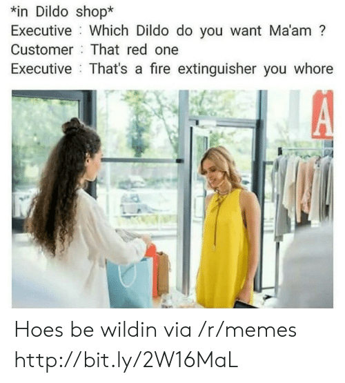 Hoes Be: n Dildo shop*  Executive Which Dildo do you want Ma'am?  Customer That red one  Executive That's a fire extinguisher you whore Hoes be wildin via /r/memes http://bit.ly/2W16MaL