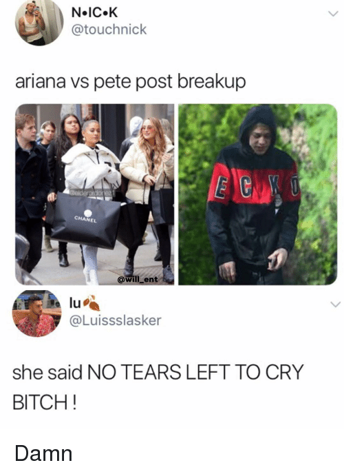 breakup: N IC.K  @touchnick  ariana vs pete post breakup  BCN  CHANEL  0  @will ent  lu  @Luissslasker  she said NO TEARS LEFT TO CRY  BITCH! Damn