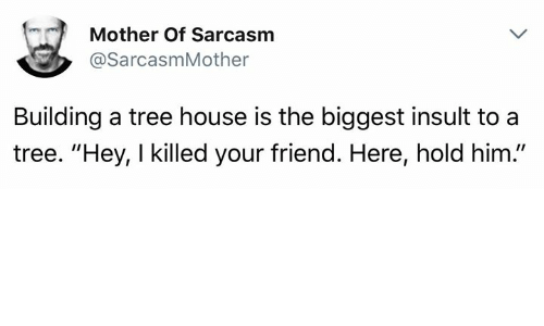 "Insulter: (n )  Mother Of Sarcasm  @SarcasmMother  Building a tree house is the biggest insult to a  tree. ""Hey, I killed your friend. Here, hold him."""