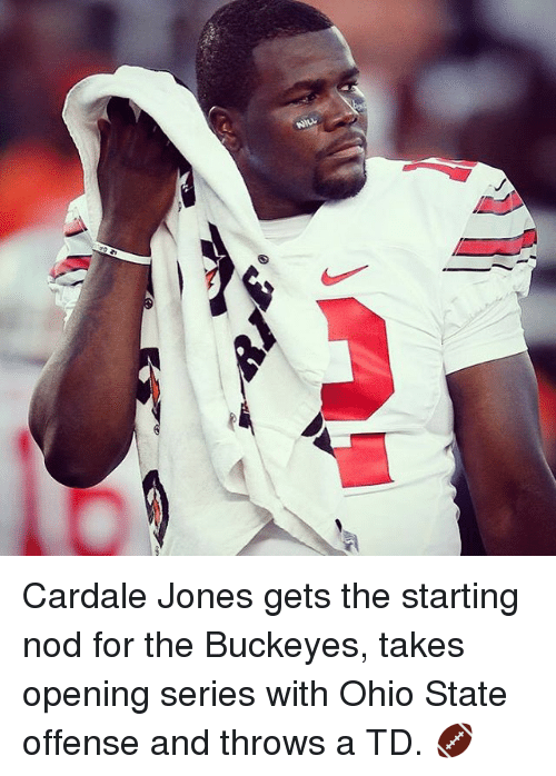 Ohio State: n(N Cardale Jones gets the starting nod for the Buckeyes, takes opening series with Ohio State offense and throws a TD. 🏈