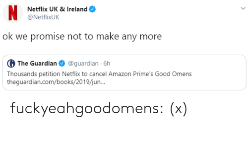 Ireland: N  Netflix UK & Ireland  @NetflixUK  ok we promise not to make any more  G The Guardian  @guardian 6h  Thousands petition Netflix to cancel Amazon Prime's Good Omens  theguardian.com/books/2019/jun.. fuckyeahgoodomens: (x)