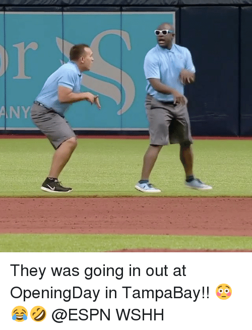 Espn, Memes, and Wshh: N They was going in out at OpeningDay in TampaBay!! 😳😂🤣 @ESPN WSHH