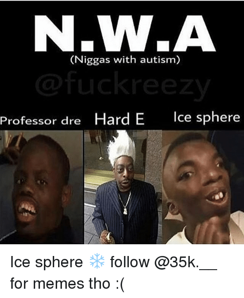 Memes, Autism, and 🤖: N.W.A  (Niggas with autism)  Professor dre Hard E  Ice sphere Ice sphere ❄️ follow @35k.__ for memes tho :(